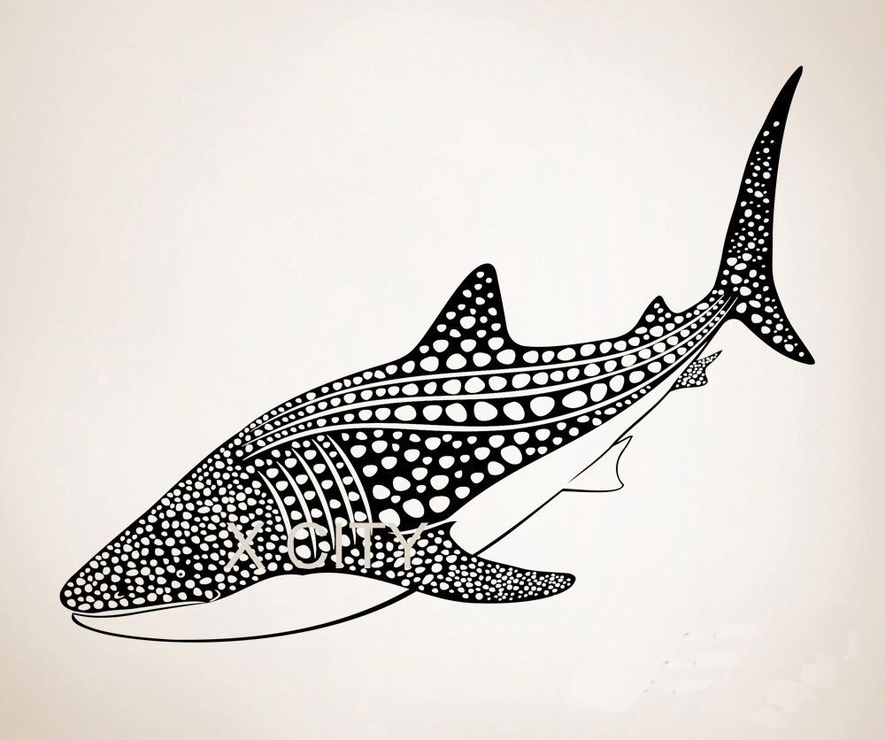 From the window to the wall whale - Vinyl Wall Decal Sticker Whale Shark Sea Ocean Animal Home Art Room Door Decor 23 In