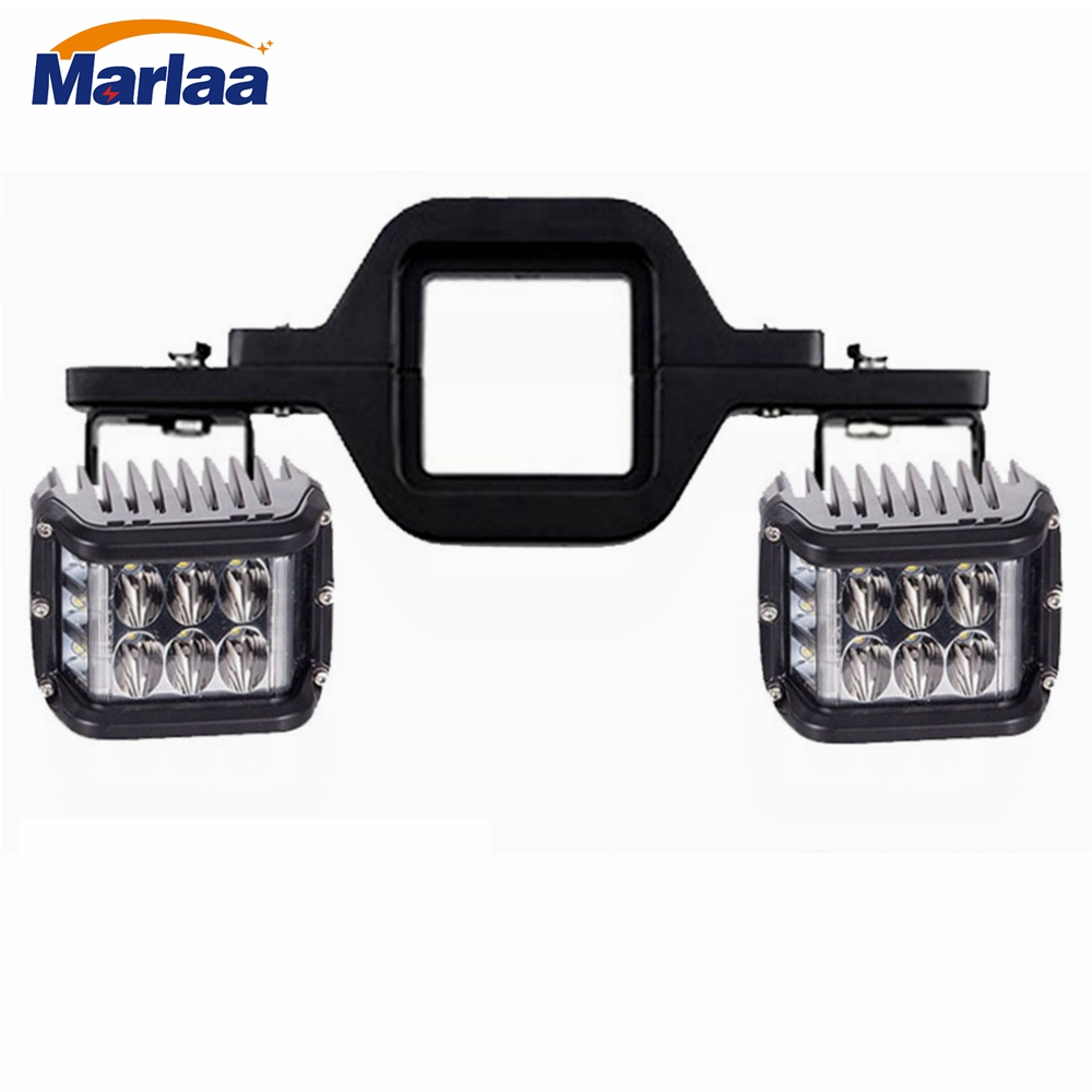 2PCS Dually Side Shooter 4 Flashing Cubes Led Work Light bar With 1pcs Tow Hitch Mounting Bracket for Trailer Truck SUV цена