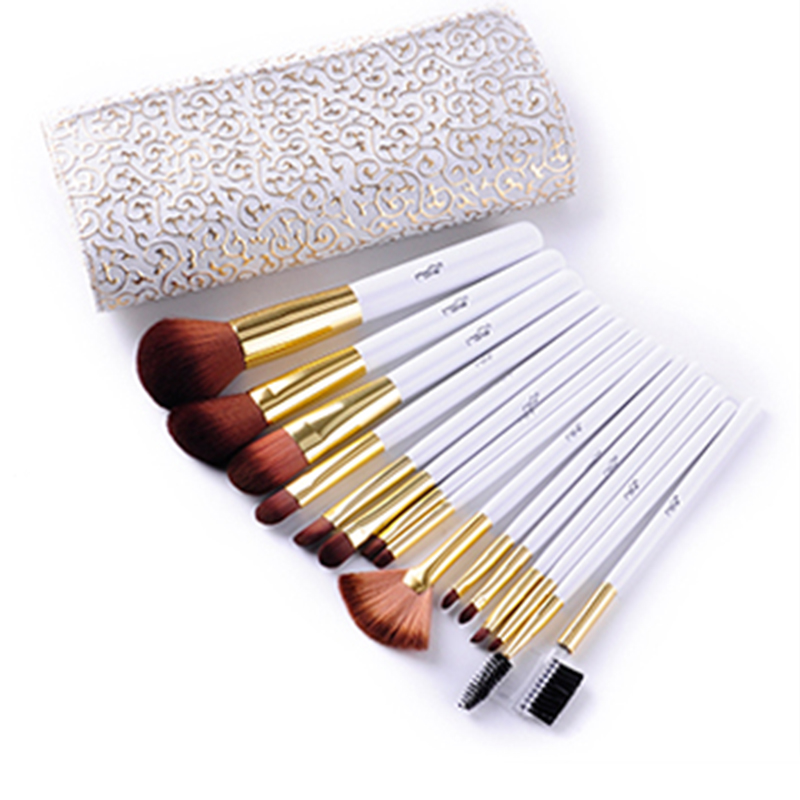 Professional 15pcs Makeup Brushes Set Powder Foundation Eyes shadow Eyebrow Brush Cosmetics Make Up Tools With PU Leather Case