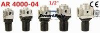 Free Shipping AR4000 04 Pneumatic Mini Air Pressure Regulator 1 2 Inch BSP SMC Type Air