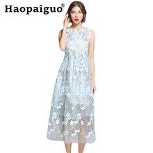 Embroidery Floral Mesh Pleated Lace Dress Women Sleeveless Evening Party Vestido De Festa Longo S-XXL Plus Size Robe