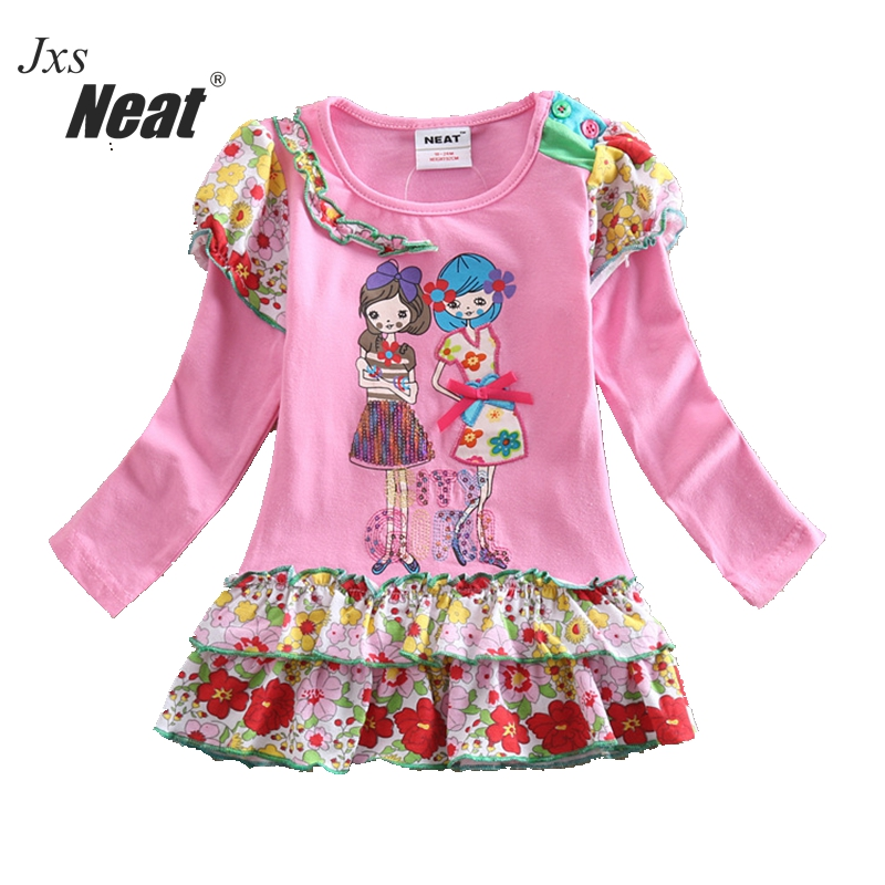 Girl dress NEAT round collar cotton girl dress lace girl cartoon character child clothes lovely pink girl long sleeve dress L195