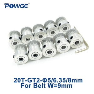 POWGE 20 Teeth 2GT Timing Synchronous Pulley Bore 5/6/6.35/8mm for width 9/10mm 2M GT2 Belt Small Backlash 20T 20Teeth 10pcs(China)