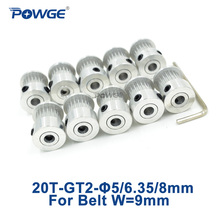 POWGE 20 שיניים 2GT תזמון סינכרוני גלגלת שעמם 5/6/6.35/8mm עבור רוחב 9/10mm 2M GT2 חגורת קטן Backlash 20 T 20 שיניים 10pcs
