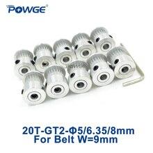 Powge 20 歯 2GTタイミング同期プーリーボア 5/6/6。35/8 ミリメートル幅 9/10 ミリメートル 2 メートルGT2 ベルト小さなバックラッシュ 20 t 20 歯 10 個