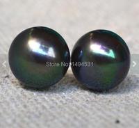 Christmas Gift Jewelry Stud Earrings Huge 11mm Peacock Freshwater Pearl Stud Earrings Sterling Silver Jewelry Free