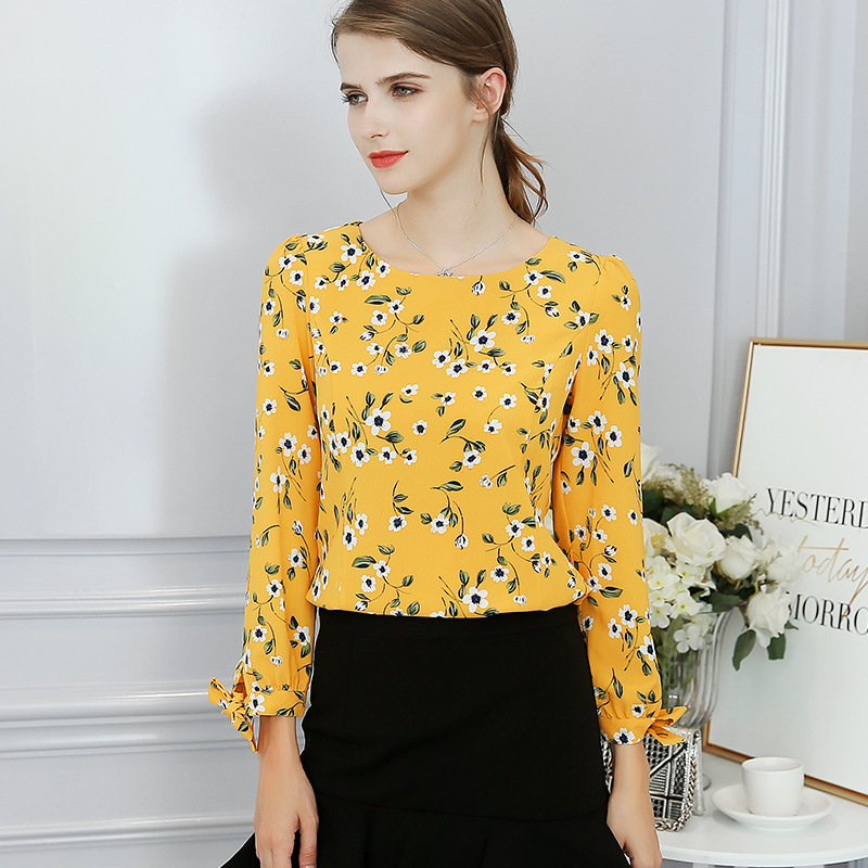 2019 Summer Women Blouse Fashion Autumn Elegant Long Sleeve OL Ladies Floral Loose Blouses Printing Bow O Neck Slim fit Blouses in Blouses amp Shirts from Women 39 s Clothing