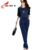 11.11 Precio de Gran Tamaño 3XL 4XL Trajes de Verano 2016 Pantalones de Una Sola Pieza de Solapa Elegante Salopette Pantalones Largos Azules Mujeres Buzos