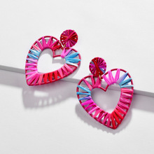 2019 Newest Fashion Jewelry Bijoux Rainbow Colorful Raffia Earring Big Oval Straw Statement Earrings for Summer