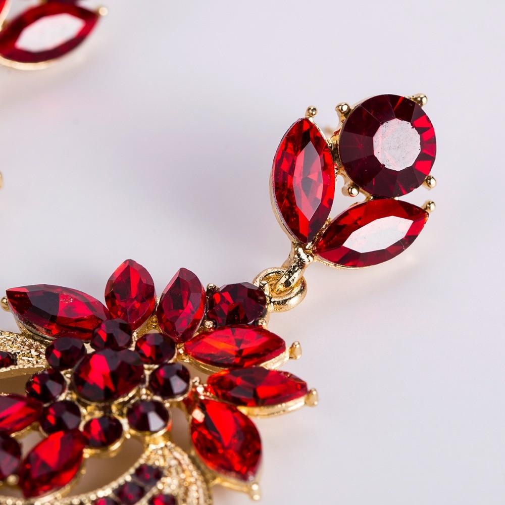 Rhinestone Statement Earrings For Women Flower Drop Dangle Earring 19 Fashion earing Trendy Wholesale Wedding Jewelry 7