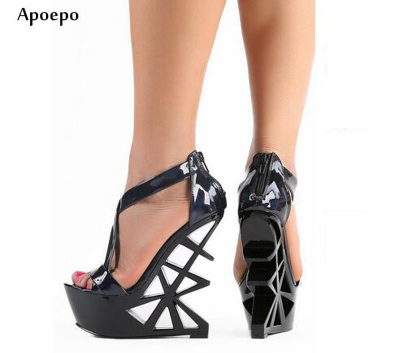 New Summer Open Toe Strange Heels Sandal for Woman 2018 Cutouts Platform High Heel Shoes Sexy Sandal for DJ Singer new woman platform high heel sandal 2018 summer rivets studded gladiator shoes sexy open toe wedge sandal silver gold