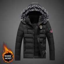 купить Fashion Winter Jackets Men Fur Collar Hooded Coats Thick Warm Parka Men British Casual Outwear Down Jackets Hombre дешево
