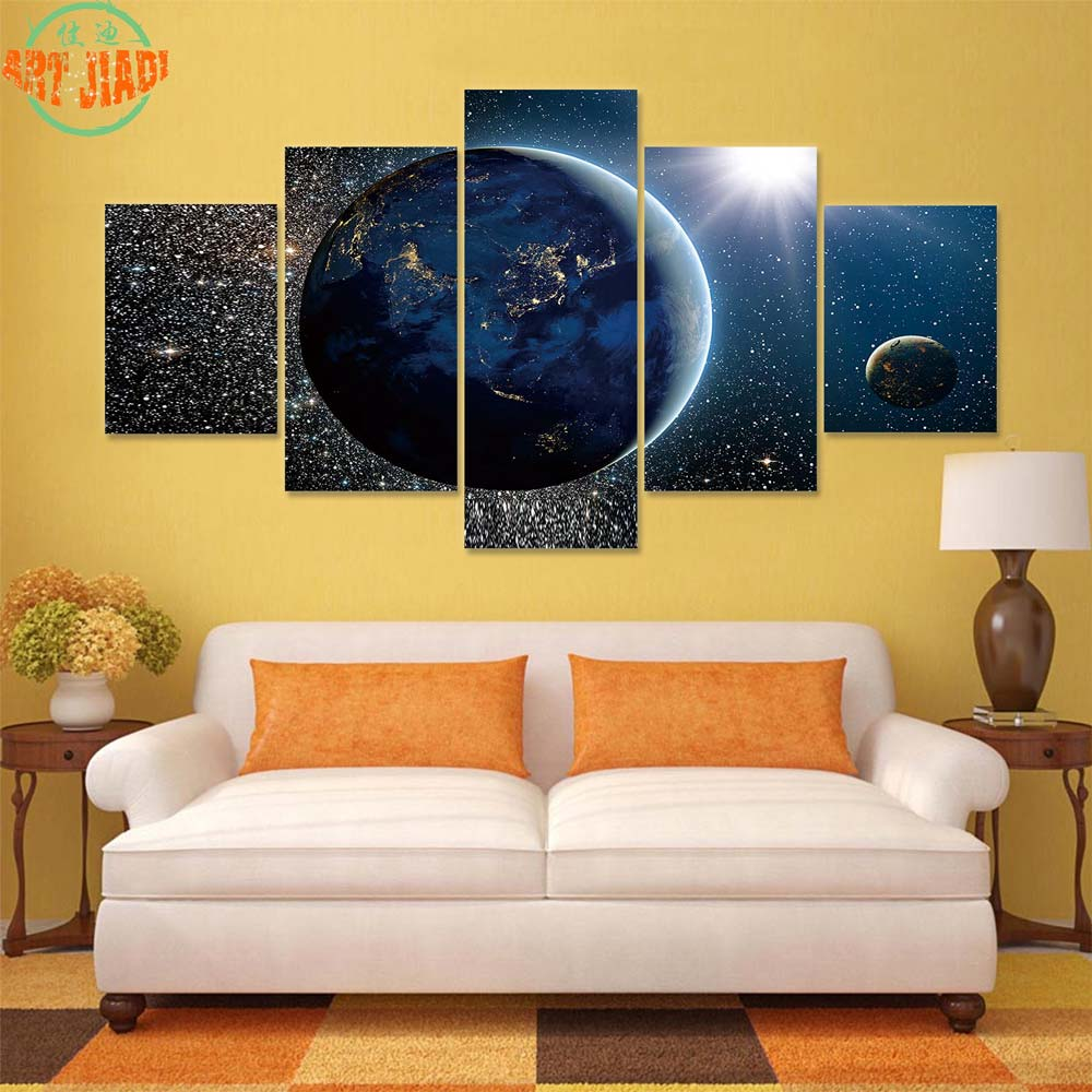 Beautiful View Of Earth, Sun and Moon 4 5 Piece/set Canvas Art ...
