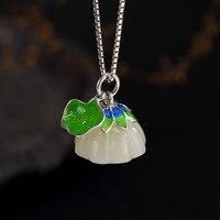 MetJakt Natural Hetian Jade Pendant Solid 925 Sterling Silver and Vintage Enamel Lotus Pendant for Necklace for Women