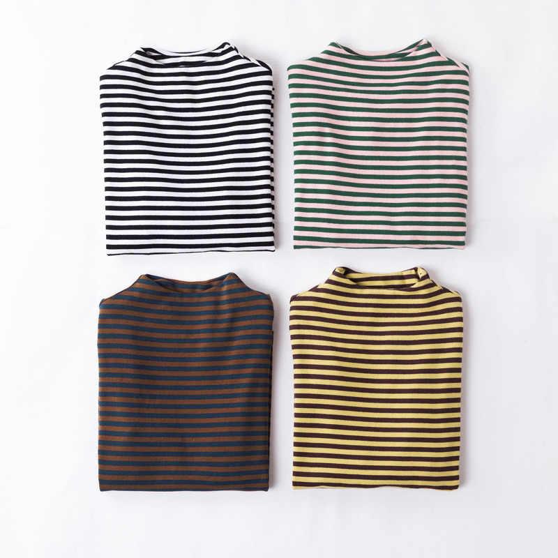 INMAN осень водолазка с длинным рукавом хлопок Fit Тонкий полосатый футболка для женщин