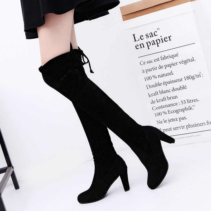 0dafb6fd7 Women's European Lace Up Bandage Over The Knee High Heels Long Boot Shoes  Lady Sexy Party