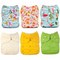 [Mumsbest] 6PCS Baby Cloth Diapers With 6 Microfiber Inserts Baby Cloth Nappies with Liners Reusable Washable Diaper Covers