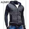 New arrival men sweatshirt black simple hooded patchwork men sportsweater fashion zipper turn-down collor jacket men