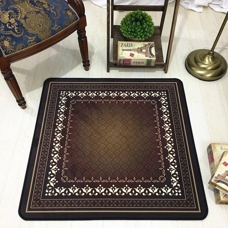 Rétro Européenne Carré tapis chaise D'ordinateur tapis Chambre étude bureau tapis Machine lavable paillasson antidérapant tapis de sol