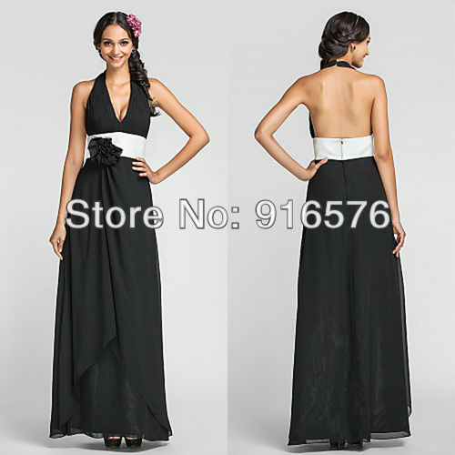 Sexy Backless Black And White Bridesmaid Dresses Flower ...Halter Top Backless Wedding Dresses