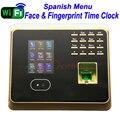 Испанский Меню Wi-Fi, уход за кожей лица рабочего времени Empolyee время записи Системы Tcp/ip уход за кожей лица и табельные часы с отпечатком пальца...