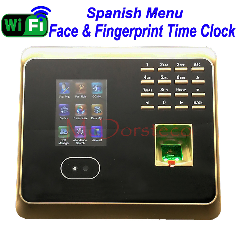 Spanish Menu WiFi Face Time Attendance Empolyee Time Record System Tcp/ip Face & Fingerprint Time Clock UF100plus