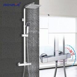 ROVATE الحمام دش ثرموستاتي مجموعة ، ثابت التحكم في درجة الحرارة حنفية الحمام أدوات دش ، النحاس الكروم