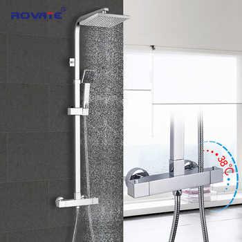 ROVATE Bagno Termostatico Doccia Set, di Controllo di Temperatura Costante Bagno Doccia Rubinetto Sistema, In Ottone Cromato