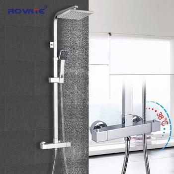 ROVATE Bathroom Thermostatic Shower Set, Constant Temperature Control Bath Faucet Shower System,Brass Chrome