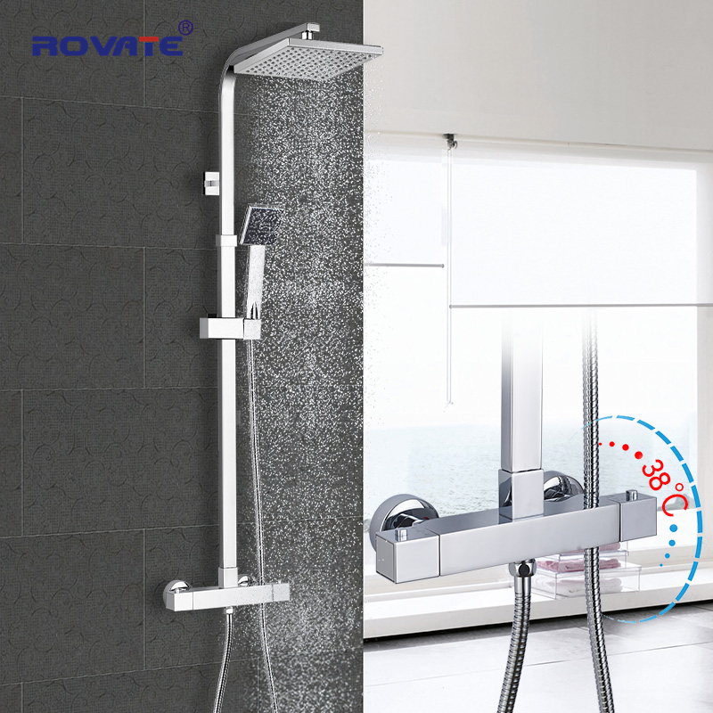 ROVATE Bathroom Thermostatic Shower Set, Constant Temperature Control Bath Faucet Shower System,Brass Chrome