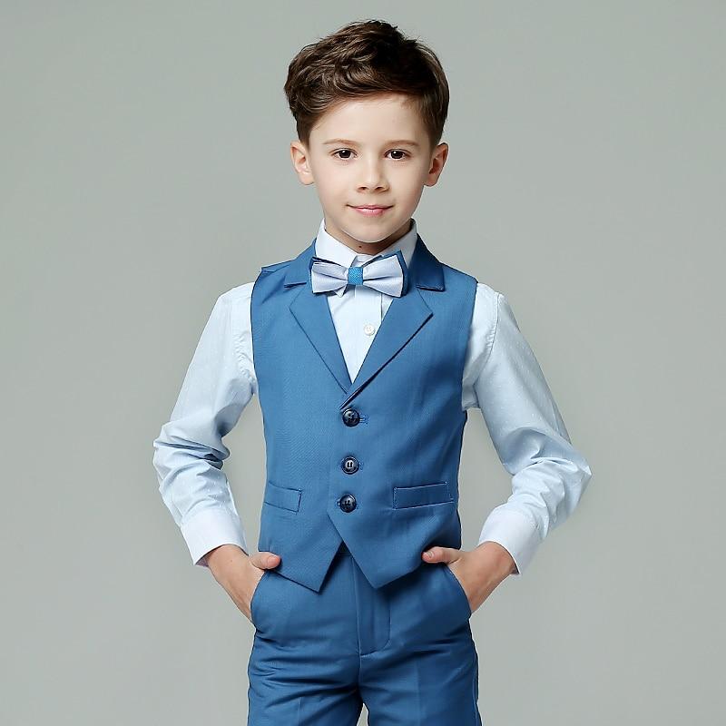 2018 summer boys suits plaid light blue vest sets wedding suits for ...