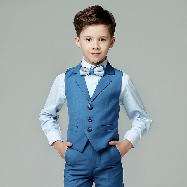 2018 spring boys nimble vest suits for weddings kids prom suits blue ...