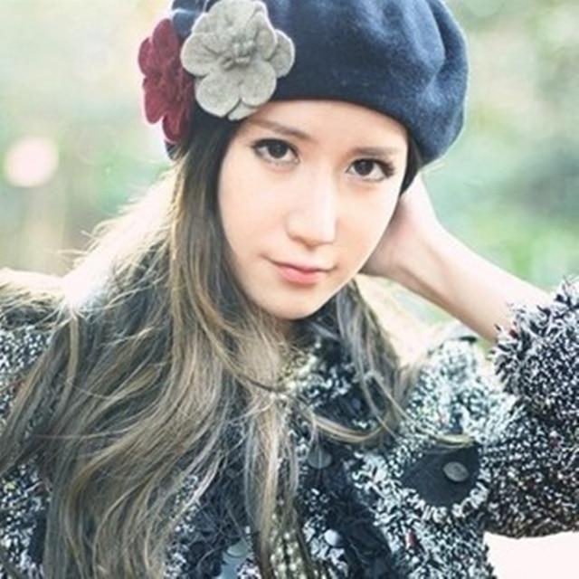 VORONHot nuevo 100% boina de lana damas de moda gorro sombrero MS planas  invierno gorro 8f641da1239