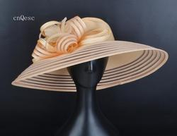 2019 X large Peach Women hat Sun hat church hat Sun hat for wedding bridal shower mother of the bride w/feathers