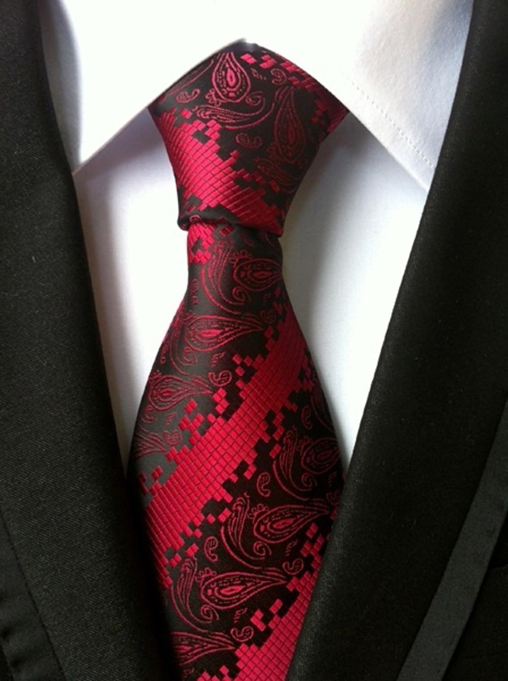 Simple Mens Black Red Paisley Plaid Silk Tie Necktie