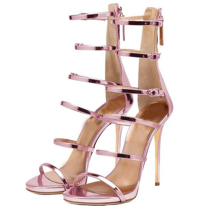 Fashion Gladiator Style Women Sandals Multi Color High Heels Ankle