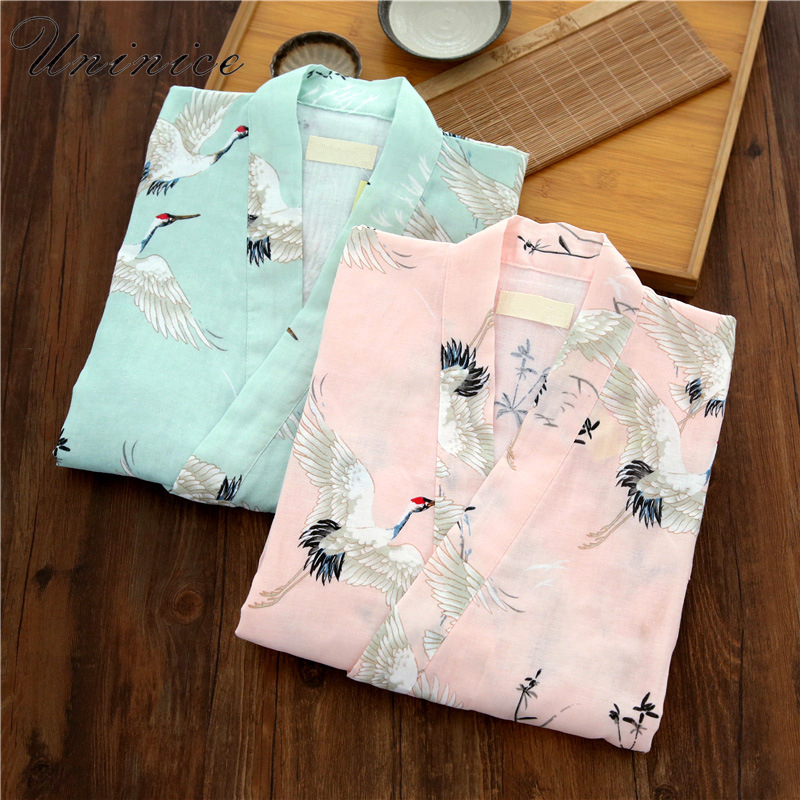 Japanese Women's Yukata Kimono Robes Pajamas Sets Cotton Short Pants Nightgown Sleep Bathrobe Leisure Wear Homewear Traditional
