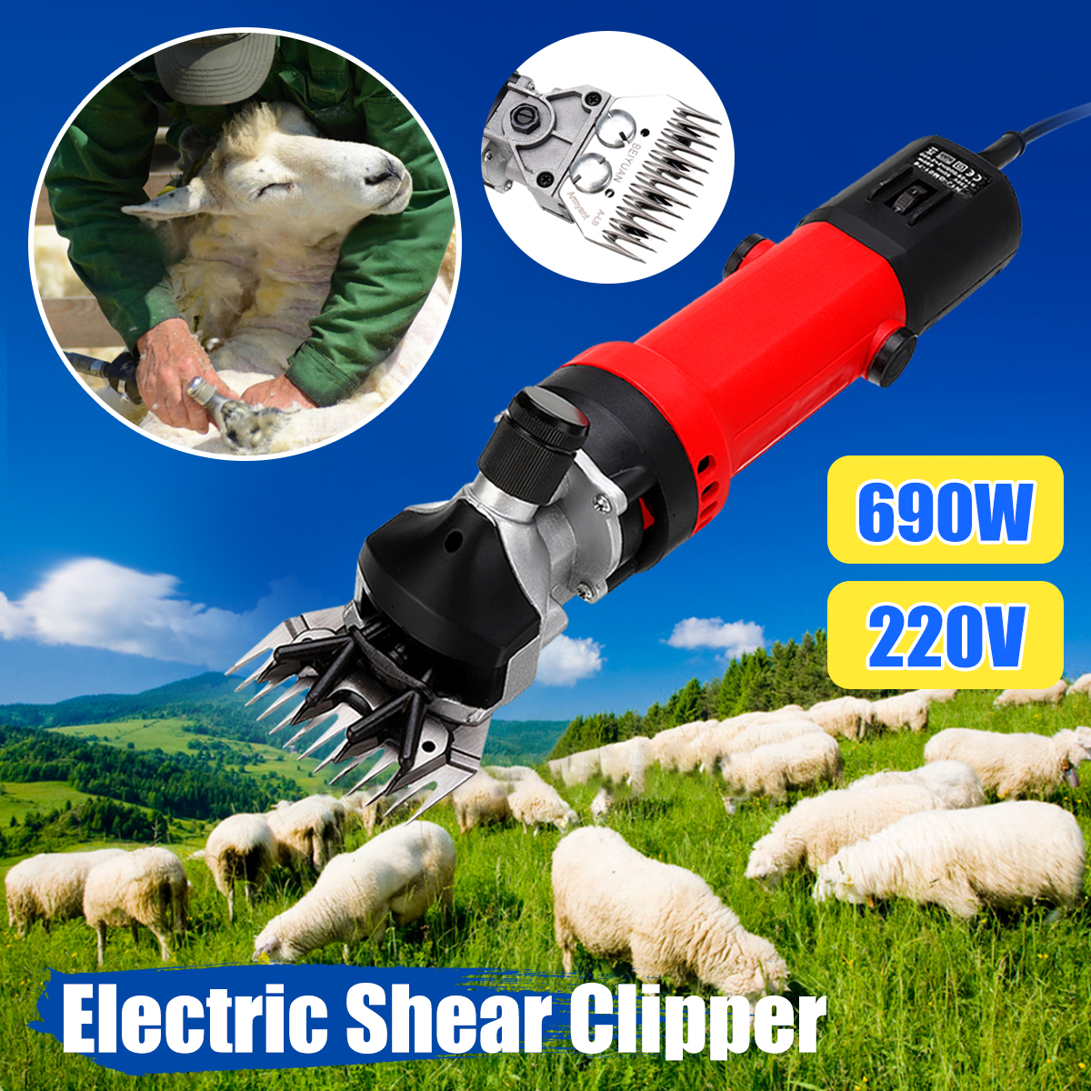 UE Plug 690 w Électrique Shearing Clipper Pet Tondre les Moutons Alpaga Chèvre Ferme Laine Cut Trimmer 220 v Pour La Laine électrique Tonte des Moutons