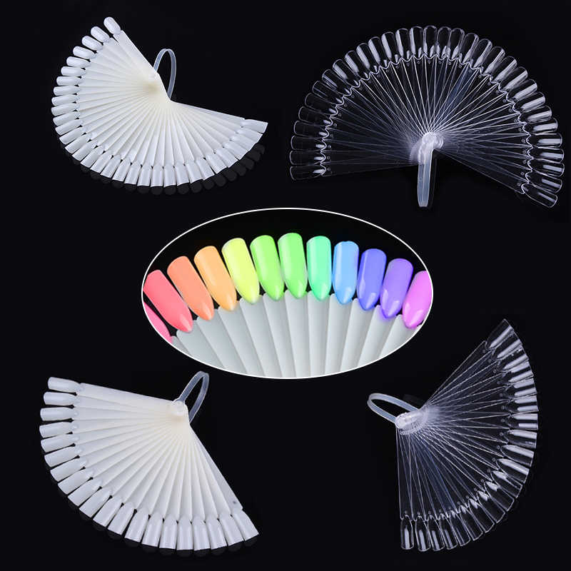 1Set Valse Nagel Tips Natuur Clear Black Fan Vinger Volledige Card Nail Art Display Practice Acryl Uv Gel Polish tool