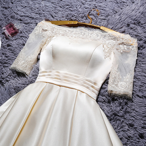 Image 3 - DongCMY Short 2020 Champange Color Prom Dresses Elegant Vestidos Party Satin Half sleeve Gown