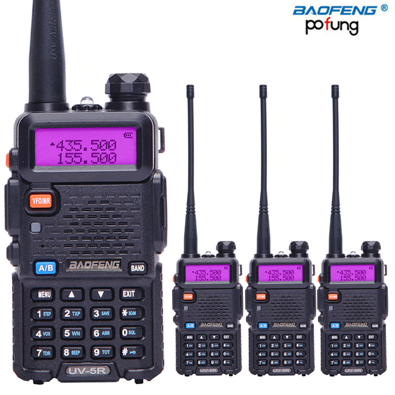 4PCS BaoFeng UV 5R Dual Band Walkie Talkie VHF UHF136 174Mhz 400 520Mhz Two way radio