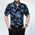 Flores de moda de verano de manga corta botones de los hombres camisa de algodón, floral del verano hawaiano camisa de los hombres