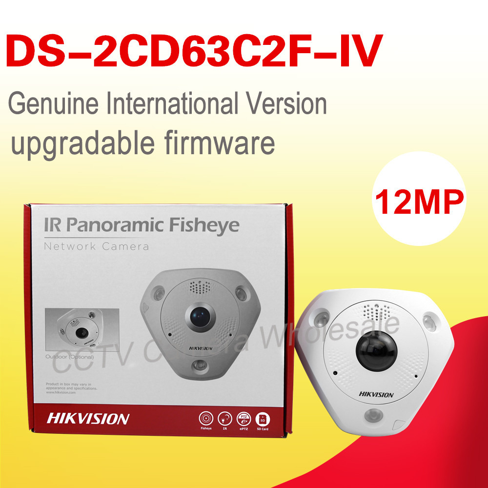 Free shipping English version DS-2CD63C2F-IV 12MP Fisheye Network Camera 360 degree view angle ip camera Support Heat Map in stock international english version ds 2cd2942f is english version 4mp compact fisheye network cctv camera fisheye