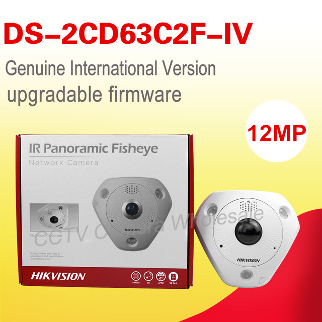 Free shipping English version DS-2CD63C2F-IV 12MP Fisheye Network Camera 360 degree view angle ip camera Support Heat Map