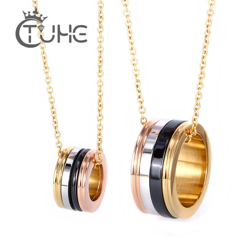 2018 Hot Fashion Rose Gold 316 Stainless Steel Couples Necklace Punk Crystal Ceramic Necklace for Women Men Jewelry Valentine's