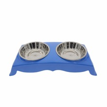 New Pet Ornaments Big Size Stainless Steel Double Bowl Dog Cat Puppy Water Food Feeder Dish Pet Feeding Bowls HCMCW10169