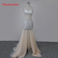Custom Made Real Photo Sweetheart Neckline Champagne Tulle Long Crystal Prom Dresses