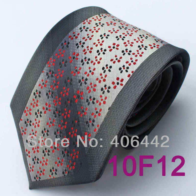 Coachella hubungan laki-laki abu-abu gelap perbatasan perak dengan bintik-bintik merah Microfiber tenunan dasi, Leher resmi dasi untuk kemeja pernikahan