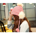 2017 new Winter Cat Beanie Hat Ladies Knit Hats For Women Beanies Caps Pearls Diamond Beanie Touca Knitted Cap With Ear Flaps