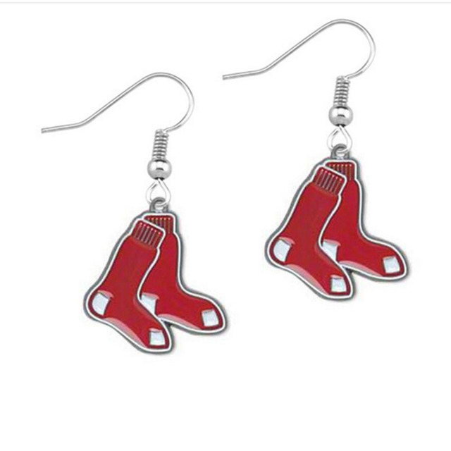 5 Pairs Baseball Fans Earrings Enamel Team Boston Red Sox Charm Drop